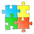Vector illustration blue jigsaw puzzle Stock Photography