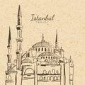 Vector illustration of Blue Mosque on vintage paper background.