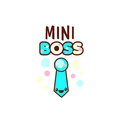 The vector illustration of blue ribbon and the mini boss text with stylish kawaii emoji. Vector style boys gift
