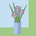 Vector illustration of bouquet of iris flowers. Card of purple flowers.