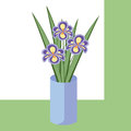 Vector illustration of bouquet of iris flowers. Card with purple flowers.