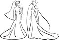 Vector illustration brides silhouettes line drawings Stock Images