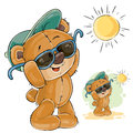 Vector illustration of a brown teddy bear in a cap and sunglasses enjoying the bright sun