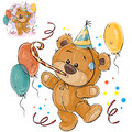 Vector illustration of a brown teddy bear in a cardboard hat and with a whistle surrounded by balloons