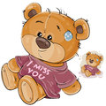 Vector illustration of a brown teddy bear dressed in a T-shirt with the inscription I miss you