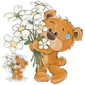 Vector illustration of a brown teddy bear holding a bouquet of flowers in his paws.