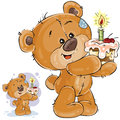 Vector illustration of a brown teddy bear holding a cake with a candle in its paws