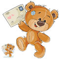 Vector illustration of a brown teddy bear holding in its paws received love letter