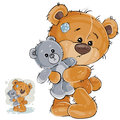 Vector illustration of a brown teddy bear hugging his soft toy and missing someone