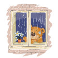 Vector illustration of a brown teddy bear looks out the window on the rain and sad