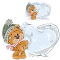 Vector illustration of a brown teddy bear makes a snowball in the shape of a heart
