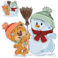 Vector illustration of a brown teddy bear makes a snowman