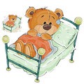 Vector illustration of a brown teddy bear misses and sad lies in bed