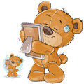 Vector illustration of a brown teddy bear misses someone and hugs a photo
