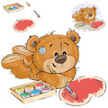 Vector illustration of a brown teddy bear paints a heart with a brush and a red paint