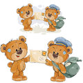 Vector illustration of a brown teddy bear postman giving a letter to another teddy bear