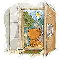 Vector illustration of a brown teddy bear sad sitting on the porch, looking at the road and waiting for someone