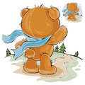 Vector illustration of a brown teddy bear sad standing in the wind, looking at the road and waiting for someone
