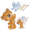 Vector illustration of a brown teddy bear sends a letter in a mail envelope using a mail pigeon