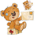 Vector illustration of a brown teddy bear sitting on a postal parcel and holding in its paw received letter