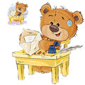 Vector illustration of a brown teddy bear sitting at the table, put in a mail envelope written love letter