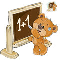 Vector illustration of a brown teddy bear is standing by the blackboard and is writing on it with chalk