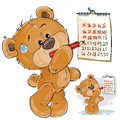 Vector illustration of a brown teddy bear strikes out the days in the calendar.