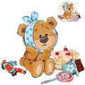 Vector illustration of a brown teddy bear sweet tooth ate a lot of sweets and now he has a toothache Royalty Free Stock Photo