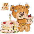Vector illustration of a brown teddy bear sweet tooth eating a piece of birthday cake