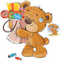 Vector illustration of a brown teddy bear sweet tooth embracing with its paws a cardboard package with sweets