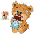 Vector illustration of a brown teddy bear sweet tooth holding in its paws a chocolate bar and eating it