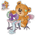 Vector illustration of a brown teddy bear tailor sews something on a sewing machine, needlework