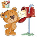 Vector illustration of a brown teddy bear takes from a mailbox the received letter