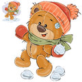 Vector illustration of a brown teddy bear throws a snowball