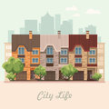 Vector illustration with buildings, detached house