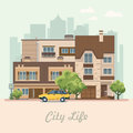 Vector illustration with buildings, detached house, semi-detached house, bungalow, mansion, high-rise building and car.