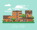 Vector illustration with buildings, detached house, semi-detached house, bungalow, mansion, high-rise building and flowers. Royalty Free Stock Photo