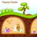 Vector illustration bunny painting happy easter egg Royalty Free Stock Image
