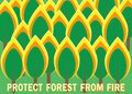 Vector illustration of a burning forest and the text Protect the forest from fire. The concept of protecting nature from Royalty Free Stock Photo