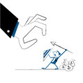 Vector illustration businessman protect money bags