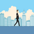Vector illustration businessman walking water his eyes closed smiling Stock Photo