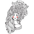 Vector illustration  card  beauty and fashion. Girl with flowers on her head. Zentangl, dudling. Adult coloring books. Royalty Free Stock Photo