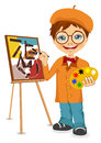 Vector illustration of cartoon artist boy Royalty Free Stock Photo