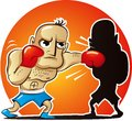 Vector illustration of cartoon boxer vevector fights own shadowctor fights own shadow Stock Images