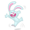 Vector illustration of cartoon bunny rabbit hopping. Easter rabbit excited Royalty Free Stock Photo