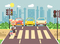 Vector illustration cartoon character child, observance traffic rules, lonely blonde girl schoolchild schoolgirl go to