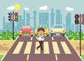 Vector illustration cartoon character child, observance traffic rules, lonely brunette boy schoolchild schoolboy go to Royalty Free Stock Photo
