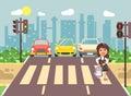 Vector illustration cartoon character child, observance traffic rules, lonely brunette girl schoolchild schoolgirl go to