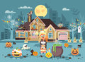 Vector illustration cartoon character child Trick-or-Treat, girl costume, fancy dresses basket in hand stands near