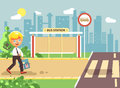 Vector illustration cartoon characters child, observance traffic rules, lonely blonde boy schoolchild, pupil go to road